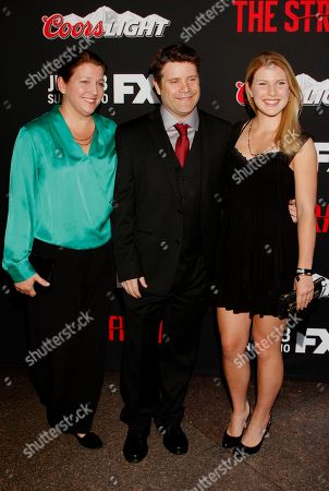 """Christine Harrell, actor Sean Astin and Alexandra Astin seen at LA Premiere Screening of """"The Strain"""" - Arrivals at DGA Theater, in Los Angeles, California"""
