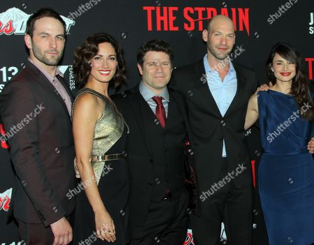 "The Strain Cast: Drew Nelson, Natalie Brown, Sean Astin, Corey Stoll and Mia Maestro seen at LA Premiere Screening of ""The Strain"" - Arrivals at DGA Theater, in Los Angeles, California"