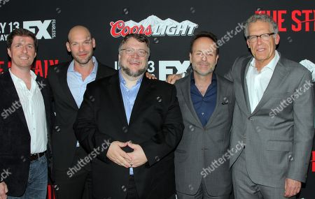 "Executive producer Chuck Hogan, actor Coey Stoll, executive producer Guillermo Del Toro, FX Networks CEO John Landgraf and executive producer Carlton Cuse seen at LA Premiere Screening of ""The Strain"" - Arrivals at DGA Theater, in Los Angeles, California"