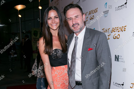 "Christina McLarty, left, and David Arquette attend the LA Screening of ""Just Before I Go"" at ArcLight Hollywood on in Los Angeles"