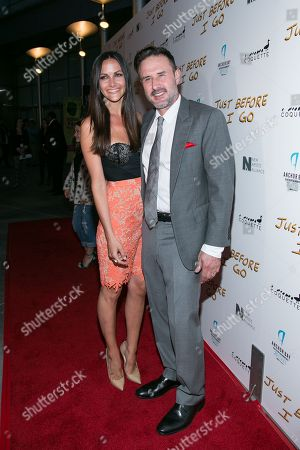 "Christina McLarty, left, and David Arguqette attend the LA Screening of ""Just Before I Go"" at ArcLight Hollywood on in Los Angeles"