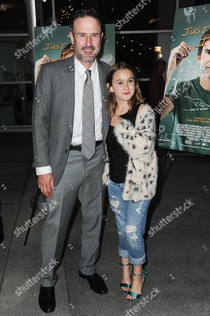 "David Arquette, left, and Coco Arquette arrive at the LA Screening of ""Just Before I Go"" held at Arclight Cinemas - Hollywood, in Los Angeles"