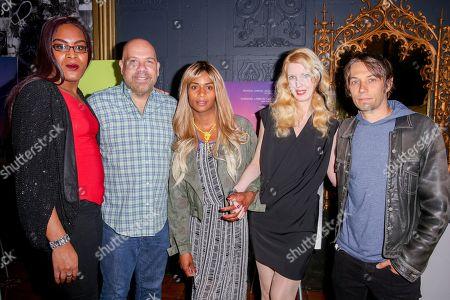 "Mya Taylor, from left, Jason Stuart, Kitana Kiki Rodriguez, Mickey O'Hagan and Sean Baker arrive at the LA Special Screening of ""Tangerine"" at The Theater at Ace Hotel, in Los Angeles"