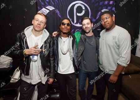Macklemore, Owuor Arunga, Ryan Lewis and Ray Dalton backstage at Park City Live Day 9, in Park City, Utah