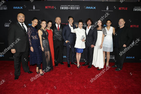 Darryl Quon, Shuya Chang, Juju Chan, Eugenia Yuan, Woon Young Park, Harry Shum Jr., Michelle Yeoh, Screenwriter John Fusco, Natasha Liu Bordizzo, Pauline Fischer, Netflix VP of Original Films and Producer Harvey Weinstein seen at the Los Angeles Premiere of Netflix original film 'Crouching Tiger, Hidden Dragon: Sword of Destiny' at AMC Universal Citywalk Stadium 19, in Universal City, CA