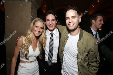 """Cassidy Gifford, Reese Mishler and Producer Dean Schnider seen at the Los Angeles Premiere of New Line Cinema """"The Gallows"""" held at Hollywood High School on"""