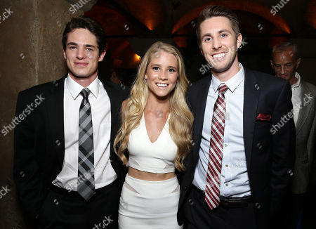 "Reese Mishler, Cassidy Gifford and Ryan Shoos seen at the Los Angeles Premiere of New Line Cinema ""The Gallows"" held at Hollywood High School on"