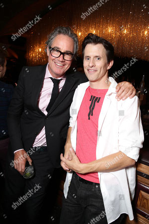 """Producer Guymon Cassady and Writer/Director/Producer Travis Cluff seen at the Los Angeles Premiere of New Line Cinema """"The Gallows"""" held at Hollywood High School on"""