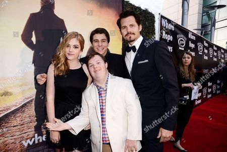 Stock Picture of McKaley Miller, David DeSanctis, Michael Grant and Kristoffer Polaha seen at Los Angeles Premiere of Roadside Attractions/Godspeed Pictures 'Where Hope Grows' at Arclight Cinemas Hollywood, in Los Angeles, CA