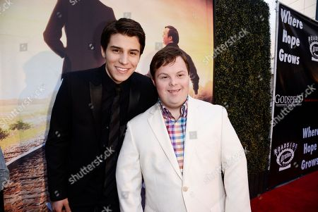 Michael Grant and David DeSanctis seen at Los Angeles Premiere of Roadside Attractions/Godspeed Pictures 'Where Hope Grows' at Arclight Cinemas Hollywood, in Los Angeles, CA