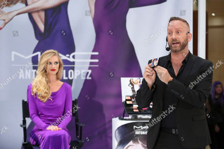 From right, Gregory Arlt, Director of Makeup Artistry for MAC Cosmetics presents with model Jessica Forrester during the MAC Cosmetics media event at South Coast Plaza, in Costa Mesa, Calif