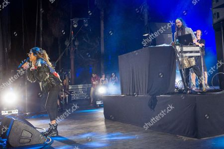 Moxie Raia performs with Steve Aoki during the Made In America Festival at Grand Park, in Los Angeles, Calif