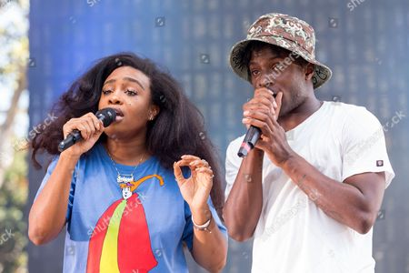 """Solana Rowe """"SZA"""" and Isaiah Rashad perform on stage during the Made In America Festival at Grand Park, in Los Angeles, Calif"""