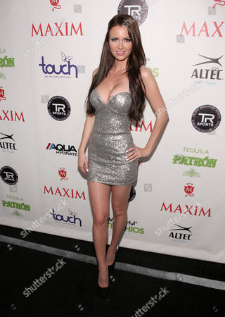 Actress April Rose attends the Maxim Magazine Super Bowl Party on in New York