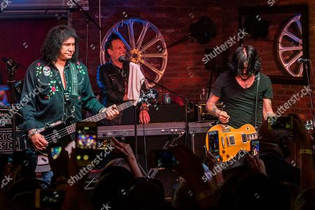 "From left, Gene Simmons, Steve Ferlazzo and Gilby Clarke perform during the ""Music On A Mission"" benefit concert held at Lucky Strike Live - Hollywood on in Los Angeles"