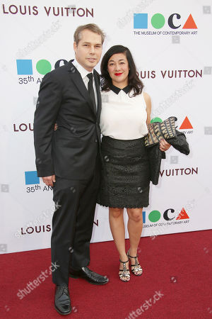 Shepard Fairey and Amanda Fairey arrive at MOCA's 35th Anniversary Gala presented by Louis Vuitton at The Geffen Contemporary at MOCA on in Los Angeles