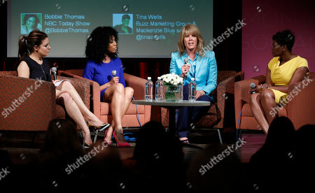 Stock Photo of Bobbie Thomas, from left, Brandy, Laura Turner Seydel, and Tina Wells, participate in a discussion panel at the Mom+Social Event at 92YTribeca, in New York