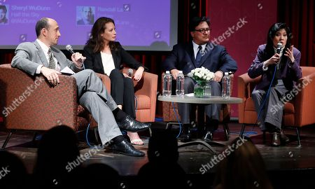 Randall Lane, from left, model Christy Turlington Burns, Ariel Pablos-Mendez, and Sheryl WuDunn participate in a discussion panel at the Mom+Social Event at 92YTribeca, in New York