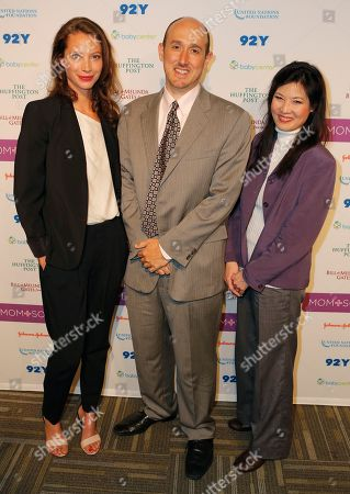 Christy Turlington Burns, Randall Lane, and Sheryl WuDunn pose for a photograph at the Mom+Social Event at 92YTribeca, in New York