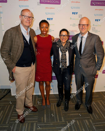 Harry Smith, from left, Tiffany Dufu, Reshma Saujani, and John Gerzerma pose for a photograph at the Mom+Social Event at 92YTribeca, in New York
