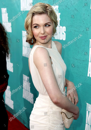 Kirsten Prout arrives at the MTV Movie Awards on in Los Angeles