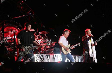 David Lee Roth, Eddie Van Halen, Alex Van Halen and Wolfgang Van Halen with Van Halen performs during Music Midtown 2015 at Piedmont Park, in Atlanta