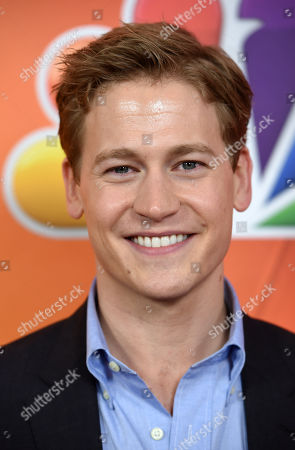 """Gavin Stenhouse, a cast member in the television series """"Allegiance,"""" poses at the NBC 2015 Winter TCA Press Tour at The Langham Huntington Hotel, in Pasadena, Calif"""