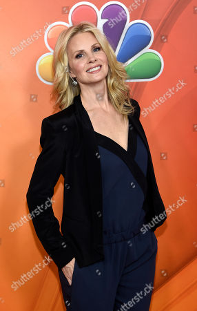 """Monica Potter, a cast member in the television series """"Parenthood,"""" poses at the NBCUniversal 2015 Winter TCA Press Tour at The Langham Huntington Hotel, in Pasadena, Calif"""