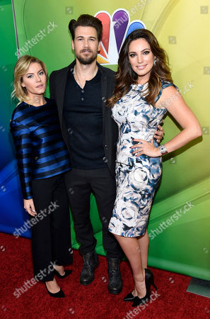"""Elisha Cuthbert, left, Nick Zano, center, and Kelly Brook, cast members in the television series """"One Big Happy,"""" pose together at the NBC 2015 Winter TCA Press Tour at The Langham Huntington Hotel, in Pasadena, Calif"""