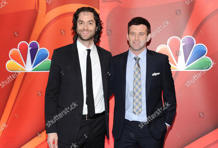"""Actors Chris D'Elia, left, and Brent Morin from """"Undateable"""" attend the NBC Network 2013 Upfront at Radio City Music Hall, in New York"""