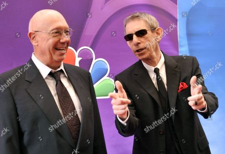 "Actors Dann Florek, left, and Richard Belzer from ""Law & Order: SVU"" attend the NBC Network 2013 Upfront at Radio City Music Hall, in New York"