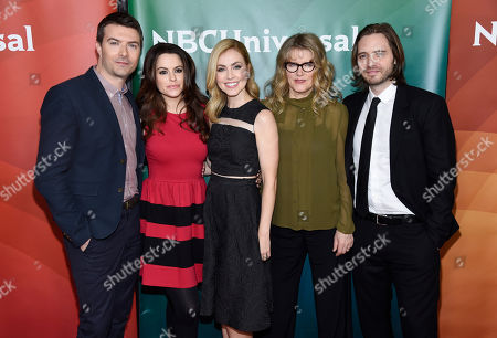 """Left to right, Noah Bean, Emily Hampshire, Amanda Schull, Barbara Sukowa and Aaron Stanford, cast members in the television series """"12 Monkeys,"""" pose together at the NBCUniversal Cable 2015 Winter TCA Press Tour at The Langham Huntington Hotel, in Pasadena, Calif"""