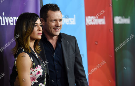 """Jessica Szohr, left, and Jason O'Mara, cast members in the USA series """"Complications,"""" pose together at the NBCUniversal Cable 2015 Winter TCA Press Tour at The Langham Huntington Hotel, in Pasadena, Calif"""