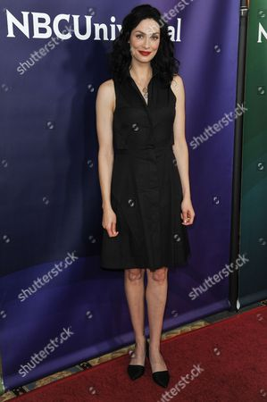Joanne Kelly arrives at the NBC Universal Summer Press Day, in Pasadena, Calif