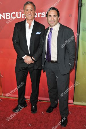 Dr. Terry J. Dubrow, left, and Dr. Paul Nassif arrive at the NBC Universal Summer Press Day, in Pasadena, Calif
