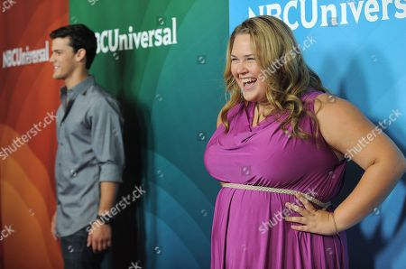 Stock Image of Lily Mae Harrington and Michael Weismann attend the second day of NBCUniversal's 2012 Summer Press Tour at the Beverly Hilton Hotel, in Beverly Hills, Calif