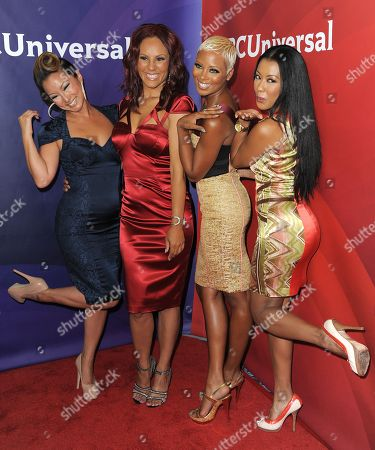 From left, Kelly Marie Dunn, Nikki Chu, Eva Marcille and Denyce Lawton attend the second day of NBCUniversal's 2012 Summer Press Tour at the Beverly Hilton Hotel, in Beverly Hills, Calif