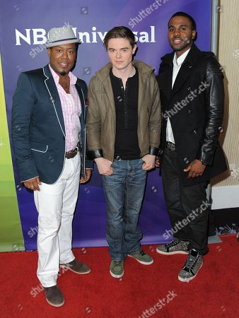 Nick Cooper, Von Smith and Jason Derulo attend the second day of NBCUniversal's 2012 Summer Press Tour at the Beverly Hilton Hotel, in Beverly Hills, Calif