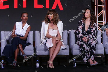 Stock Picture of Samira Wiley, Jackie Cruz and Dacha Polanco seen at Netflix 2016 Winter TCA, in Pasadena, CA