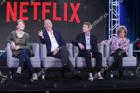 Stock Photo of Sarah Glinski, Stefan Brogren, Stephen Stohn and Linda Schuyler seen at Netflix 2016 Winter TCA, in Pasadena, CA
