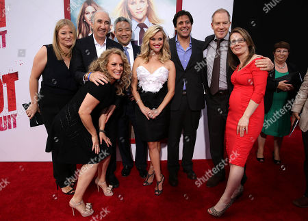 """Producer Bruna Papandrea, Gary Barber, chairman/CEO of Metro-Goldwyn-Mayer, Director Anne Fletcher, Kevin Tsujihara, Chief Executive Officer of Warner Bros., Reese Witherspoon, Jonathan Glickman, president of MGM Pictures Film Division, Toby Emmerich, President and COO, New Line Cinema and Producer Dana Fox seen at the New Line Cinema and Metro-Goldwyn-Mayer Premiere of """"Hot Pursuit"""", in Los Angeles"""