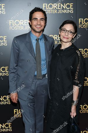 """Stock Picture of Fashion designer Zac Posen, left, and writer Joan Juliet Buck attend the premiere of """"Florence Foster Jenkins"""" at AMC Loews Lincoln Square, in New York"""