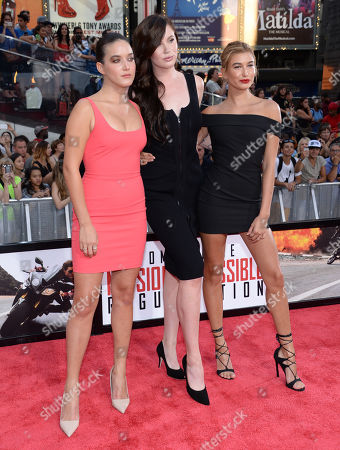 "Alaia Baldwin, from left, Ireland Baldwin and Hailey Baldwin attend the premiere of ""Mission: Impossible - Rogue Nation"" in Times Square, in New York"