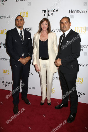 "From left, producer Erik Parker, producer Jane Rosenthal and director One9 attend the premiere of ""Nas: Time Is Illmatic"" at the Museum of Modern Art on in New York"