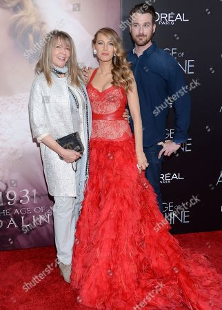 "Actress Blake Lively with her mother Elaine Lively and brother Eric Lively attend the premiere of ""The Age of Adaline"" at the AMC Loews Lincoln Square, in New York"