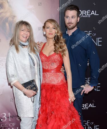 "Stock Image of Actress Blake Lively with her mother Elaine Lively and brother Eric Lively attend the premiere of ""The Age of Adaline"" at the AMC Loews Lincoln Square, in New York"