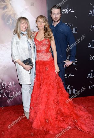 "Actress Blake Lively, center, with her mother Elaine Lively and brother Eric Lively attend the premiere of ""The Age of Adaline"" at the AMC Loews Lincoln Square, in New York"