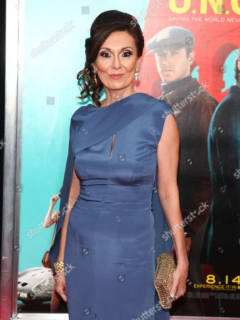 "Stock Photo of Simona Caparrini attends the premiere of ""The Man From U.N.C.L.E."" at the Ziegfeld Theatre, in New York"