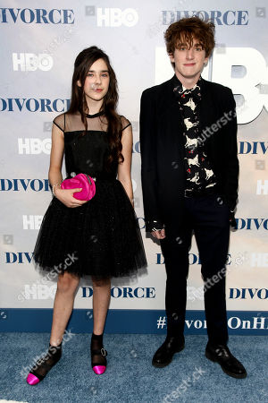"Sterling Jerins, left, and Charlie Kilgore, right, attend the premiere of HBO's ""Divorce"" at the SVA Theatre, in New York"