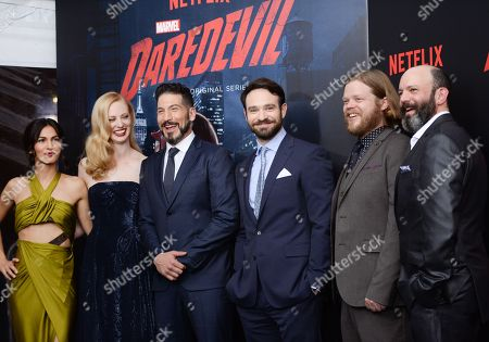 "Stock Photo of Cast members, from left, Elodie Yung, Deborah Ann Woll, Jon Bernthal, Charlie Cox, Elden Henson and Geoffrey Cantor attend the premiere of Netflix's Original Series Marvel's ""Daredevil"" Season 2 at AMC Lincoln Square, in New York"